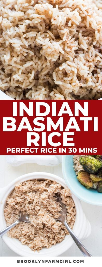 Learn how to cook PERFECT Indian Basmati Rice Recipe in under 30 minutes! This easy basmati rice uses fragrant spices to create authentic tasting Indian rice. Pair it with roasted vegetables to make a healthy, vegan meal for dinner!