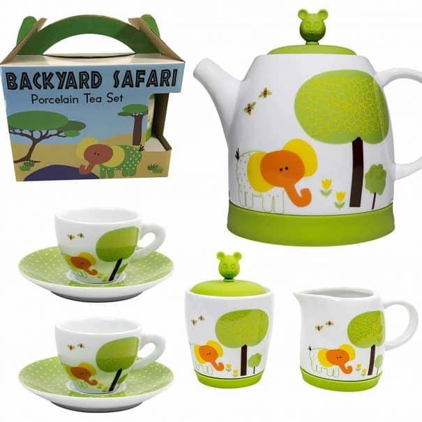 porcelain safari tea set for children