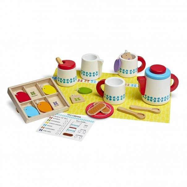 melissa doug wooden tea set