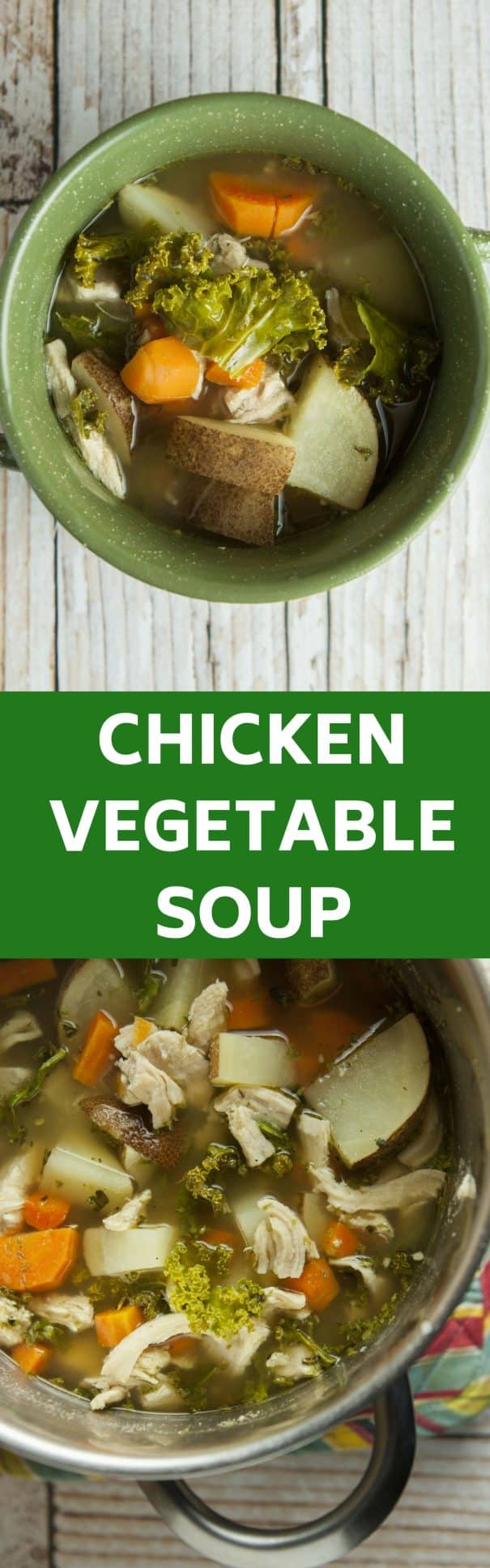 A easy Chicken Vegetable Soup recipe that is ready in 35 minutes. This is my family's favorite Winter soup that uses fresh vegetables!  We use Instant Potatoes to make the broth more creamy!