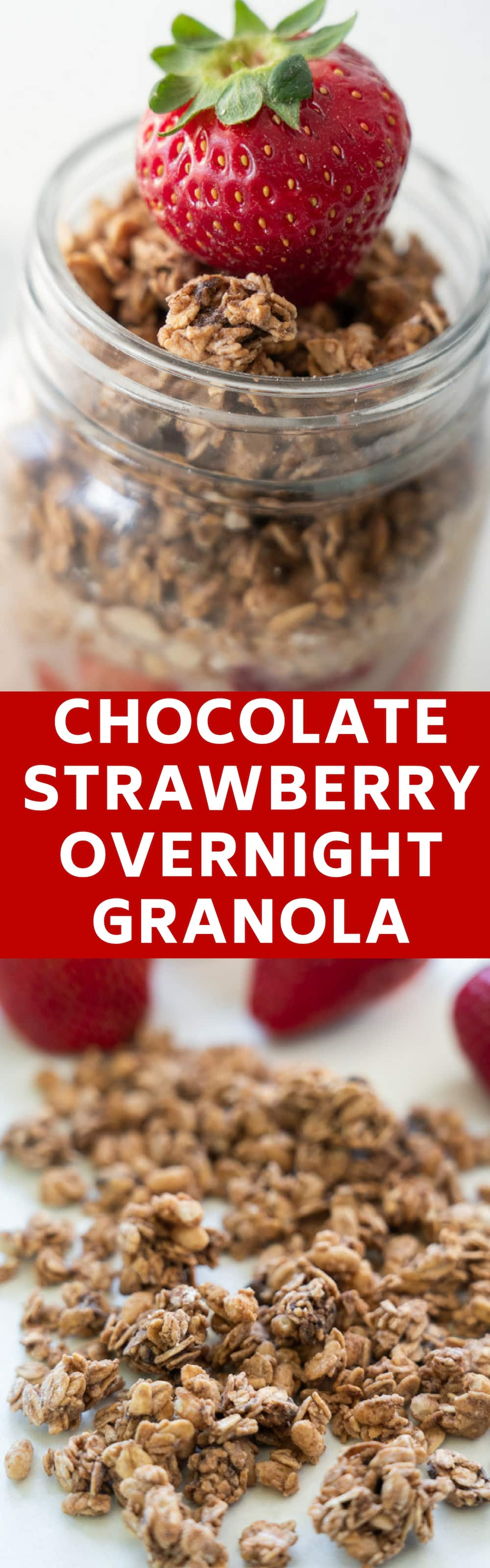 Chocolate Strawberry Overnight Granola is a healthy easy breakfast idea for toddlers that the entire family will love.   This recipe is made by Mom, tasted and approved by my toddler!  Similar to overnight oats, but made with granola instead!