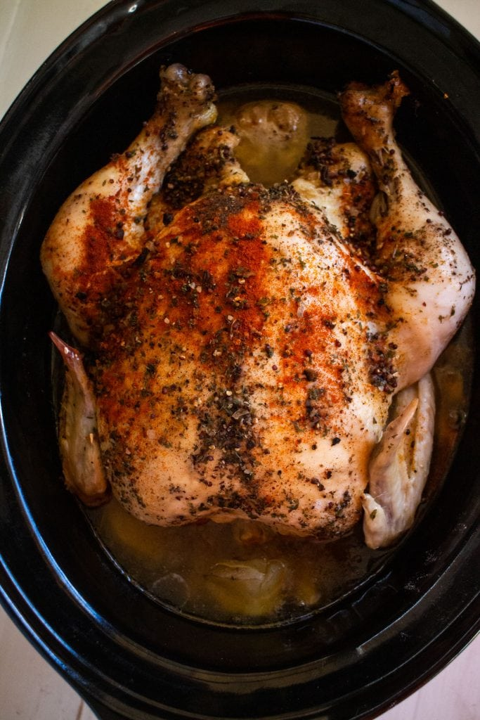 whole chicken in slow cooker