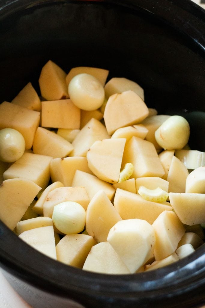 potatoes and onion in slow cooker