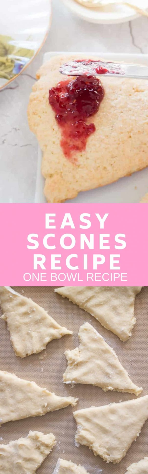 You only need one bowl for this Easy Scones Recipe! The secret to this homemade recipe is sour cream which makes light scones! Serve these crumbly English soft sconeswith clotted cream, jam and tea! You can add blueberry or raspberry to them to make them berry flavored!