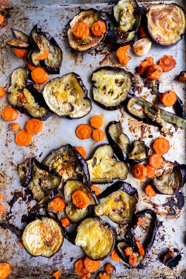 Roasted Eggplant and Carrots