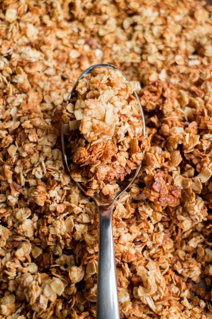 spoon filled with homemade granola