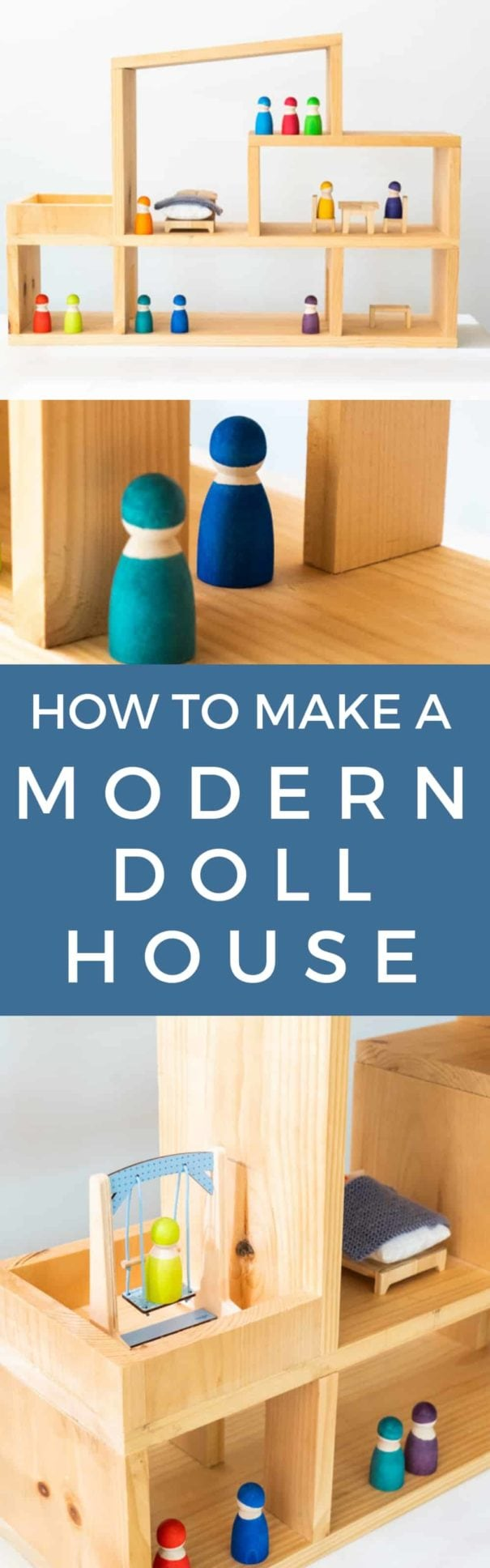 Step by step instructions on how to build a modern dollhouse for your kids.  Easy to make DIY plans and can be completed in 1 day.  Final cost is $35 for a life long toy that can be passed on for generations.