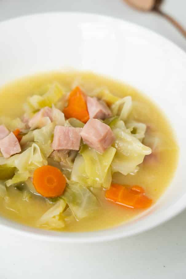 This healthy ham and cabbage soup is a mix of carrots, celery, bell pepper, onion, cabbage and ham, all simmered together in a savory broth. A quick and easy comforting meal that's full of flavor!