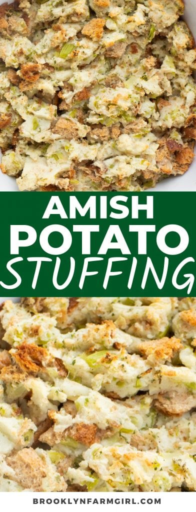 Make your Thanksgiving dinner extra comforting with this Amish Potato Stuffing Recipe. The savory bites of mashed potatoes, breadcrumbs, sauteed veggies, and sage make this side dish a must-have at holiday meals.