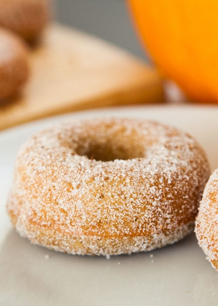 pumpkin donut on white plate with pumpkin behind it