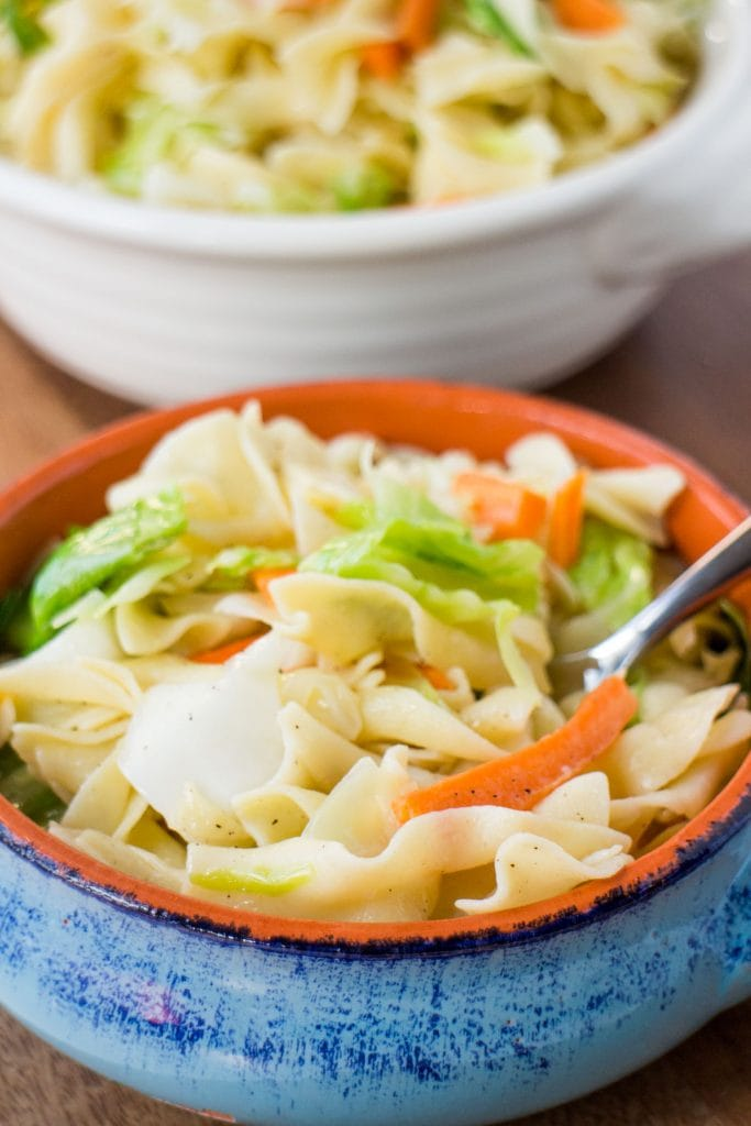 blue bowl filled with cooked noodles, cabbage, carrots and onions