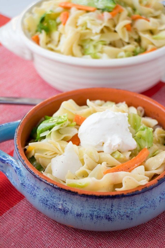 bowl of cabbage and noodles with sour cream on top