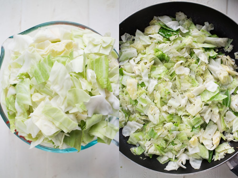 raw cabbage in skillet