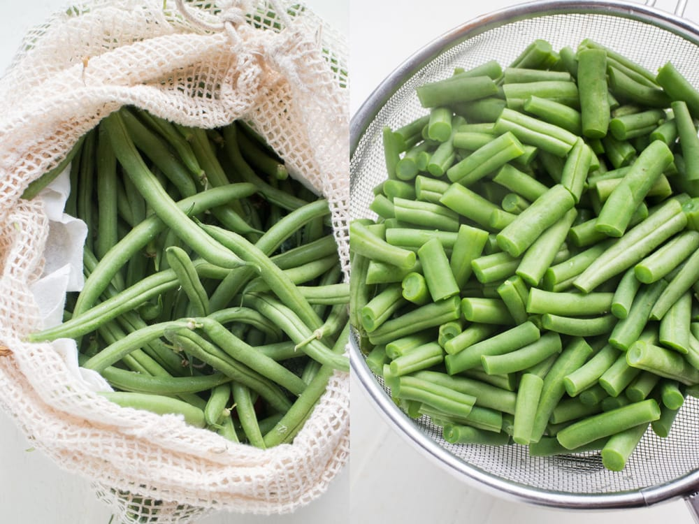 washed fresh green beans in strainer