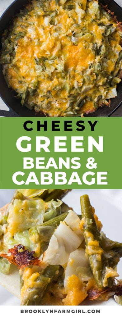These baked cheesy green beans are delicious and easy to make.  Made with fresh green beans, cabbage and cheese, this vegetarian side dish is sure to be a hit with the whole family!  Perfect for a chicken side dish, or on the holiday table.