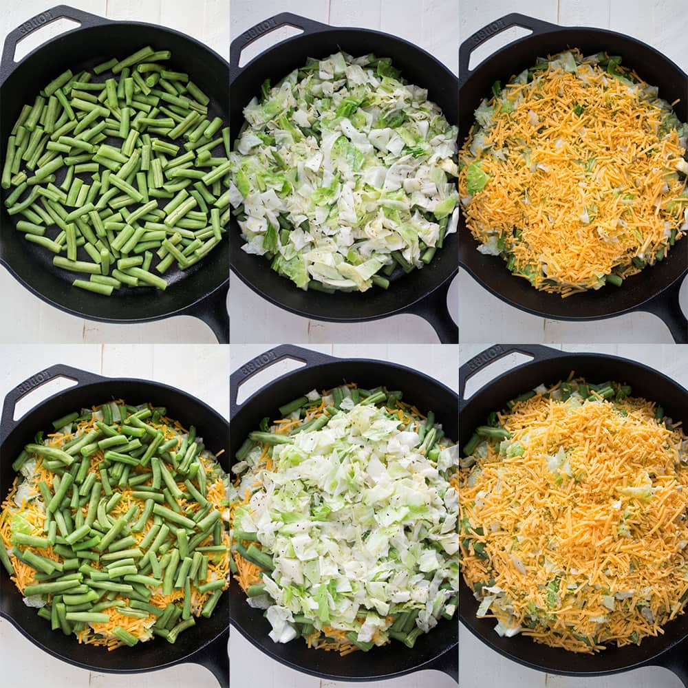 6 steps to make cheesy green beans from raw beans to cheese on top