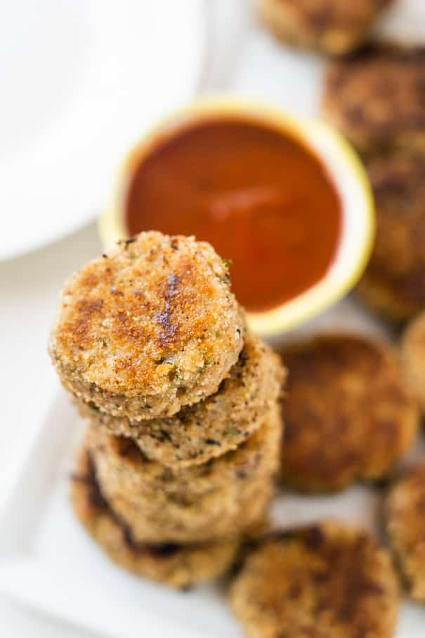 Eggplant Veggie Nuggets are healthy, easy to make and kids love them. They're made with simple ingredients and ready in less than 20 minutes.  Only 111 calories a serving for these vegetarian nuggets.  Serve for dinner, lunch box or snack.
