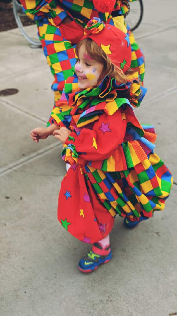Our family dressed up as clowns for Halloween, wearing vintage clown costumes and makeup. Here's some pictures if you need clown costume ideas for your clown family!
