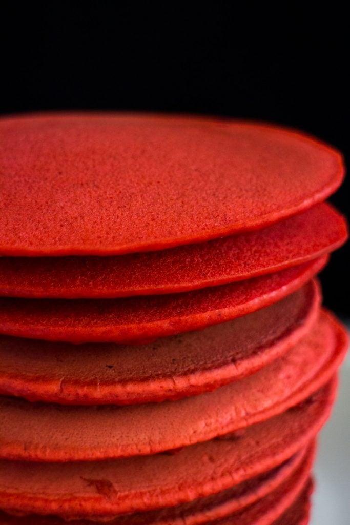 stack or dark red pancakes