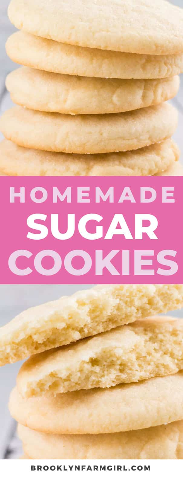 Easy to make homemade sugar cookies that are only 51 calories each.  This simple recipe makes light and airy sugar cookies, perfect for dessert and Christmas cookies!