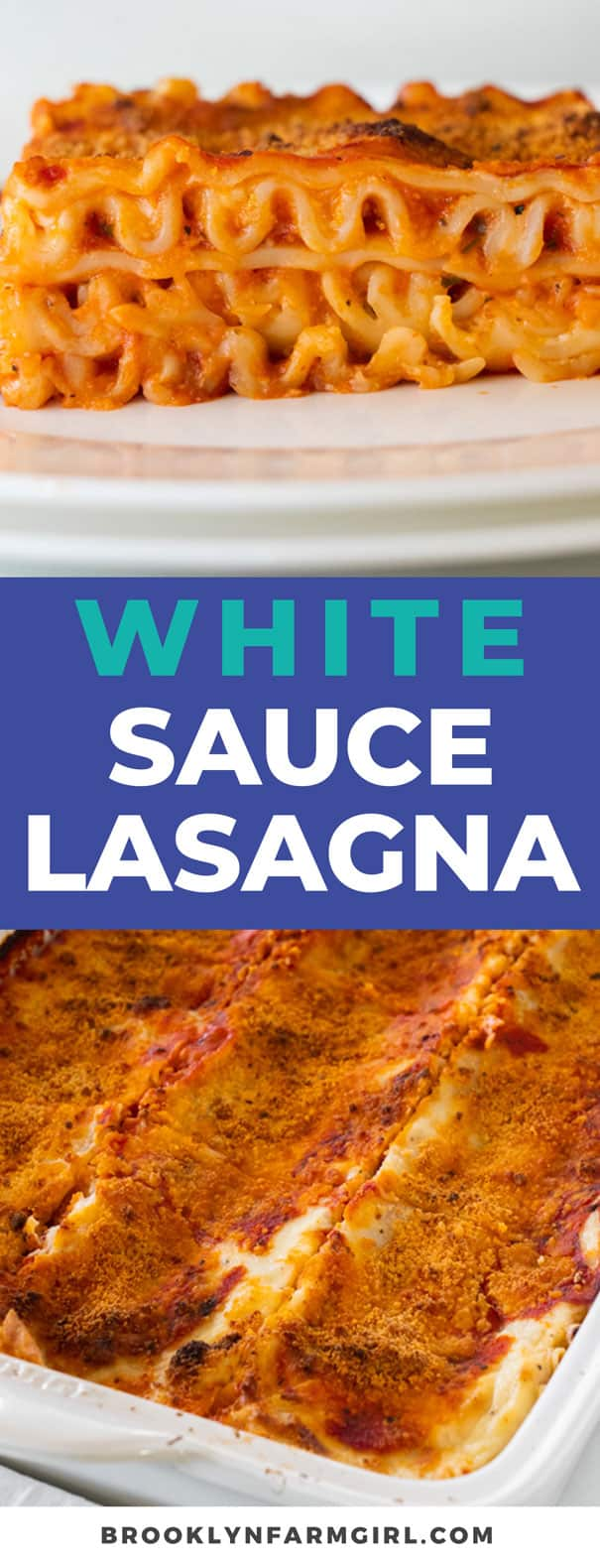 This white sauce lasagna recipe is one of our favorite comfort foods. Lasagna noodles are layered with spaghetti sauce, cheese, and a rich creamy alfredo inspired sauce. Serve it alongside a simple kale salad and garlic bread for a comfort meal that's perfect for any time of the year!
