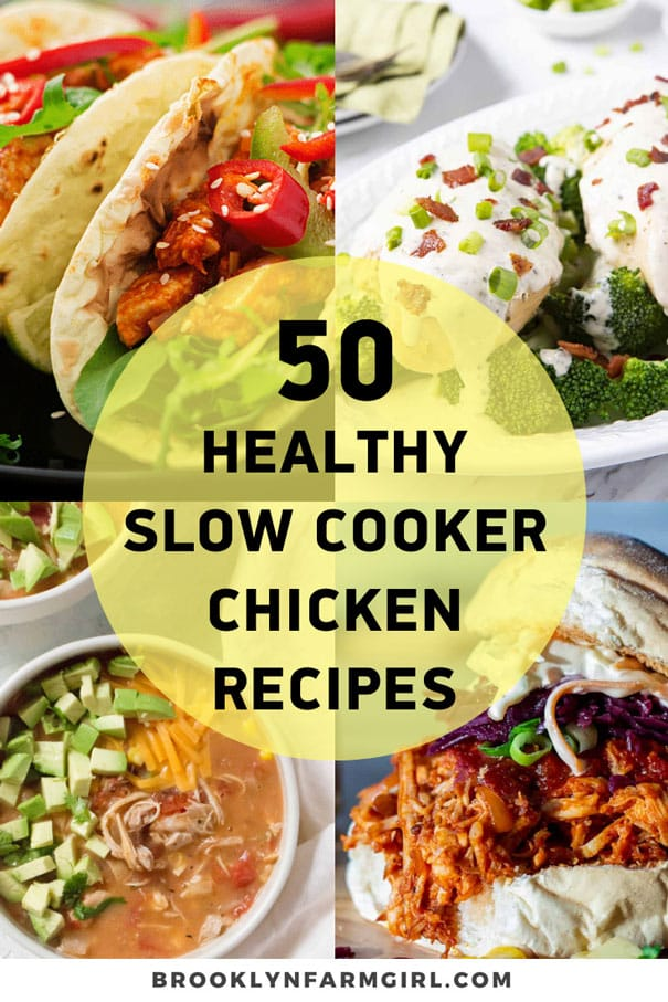 50 Healthy Slow Cooker Chicken Recipes for a busy & delicious evening! All recipes are under 500 calories. You're going to want to bookmark this page for simple, easy, & healthy slow cooker meals.