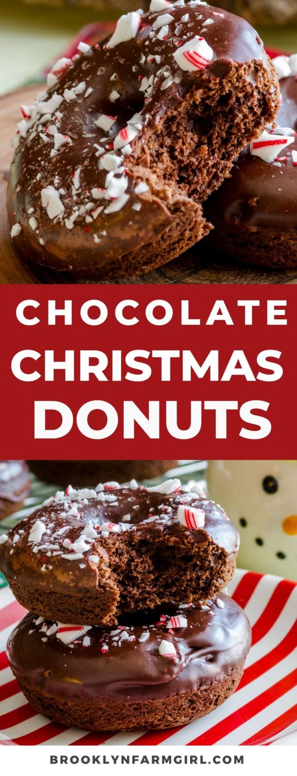 These Christmas donuts are fluffy baked chocolate donuts coated in chocolate frosting then topped with crushed peppermint candy canes. A fun and festive dessert that's perfect for Christmas breakfast!