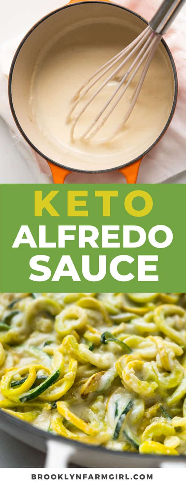Easy to make Keto Alfredo Sauce that's ready in 10 minutes.  You're going to love this low carb recipe to serve over zoodles! Made with heavy cream, broth, cream cheese and Parmesan cheese.