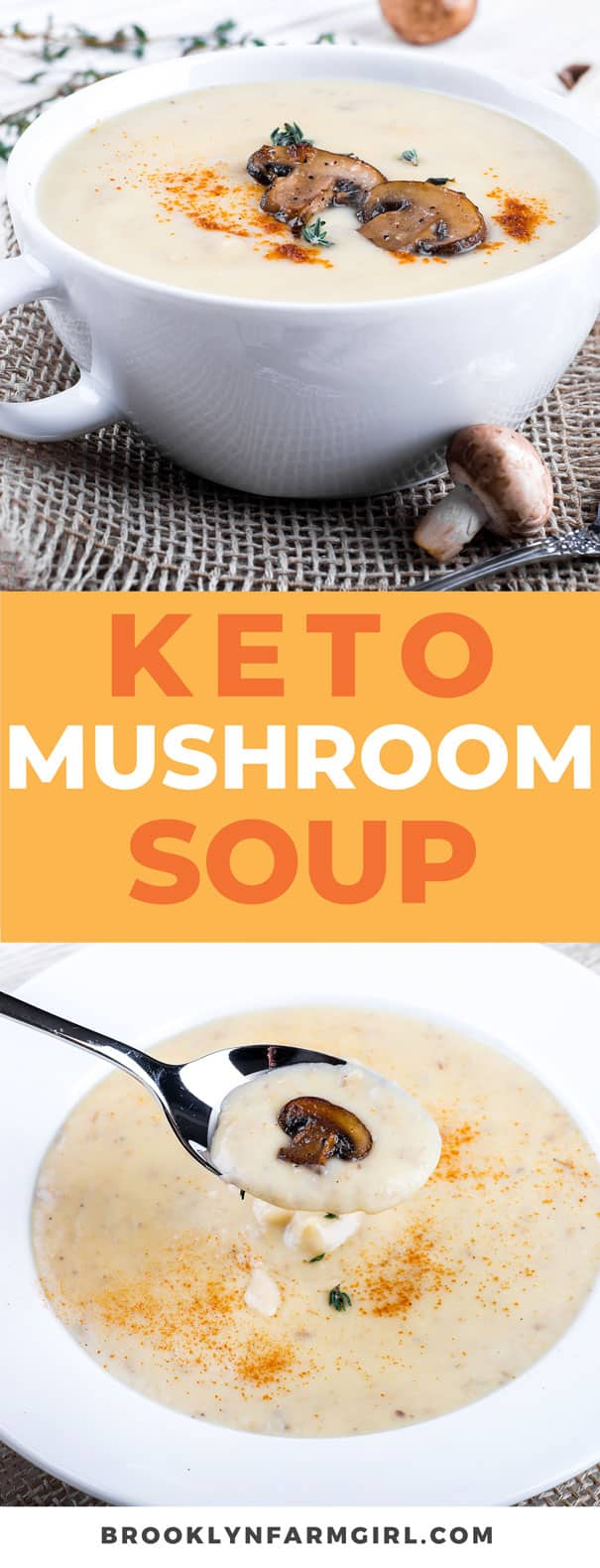 Keto Cream of Mushroom Soup recipe.This easy to make low carb recipe uses fresh mushrooms, heavy cream and cream cheese to make a delicious creamy bowl of soup!