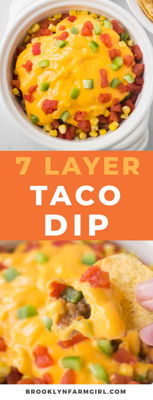 7 Layer Taco Dip is easy to make in 10 minutes with vegetables and cheese! This meatless Mexican dip is made without cream cheese for a healthy recipe. Serve hot or cold as a party appetizer.