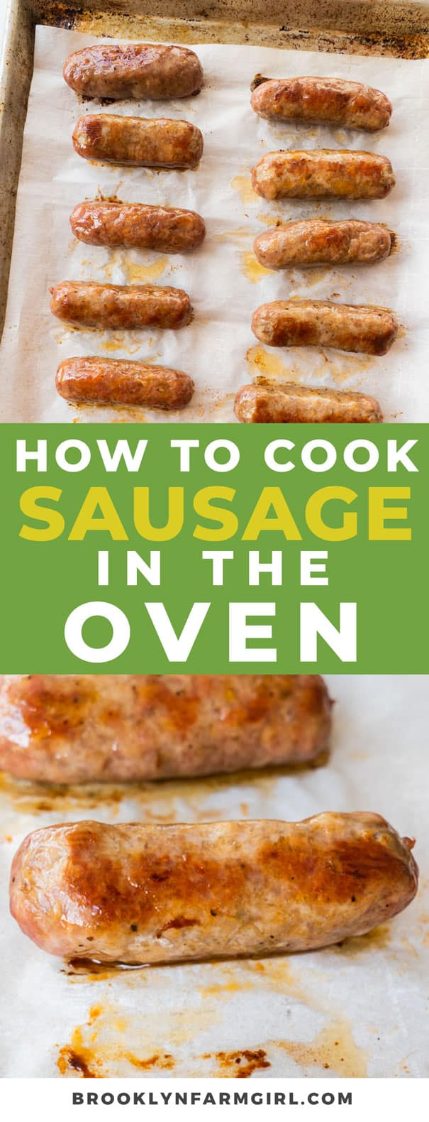 Easy steps on how to cook sausage in the oven. In just 30 minutes you'll have delicious oven baked sausage for dinner . This works for all sausage links and patties!