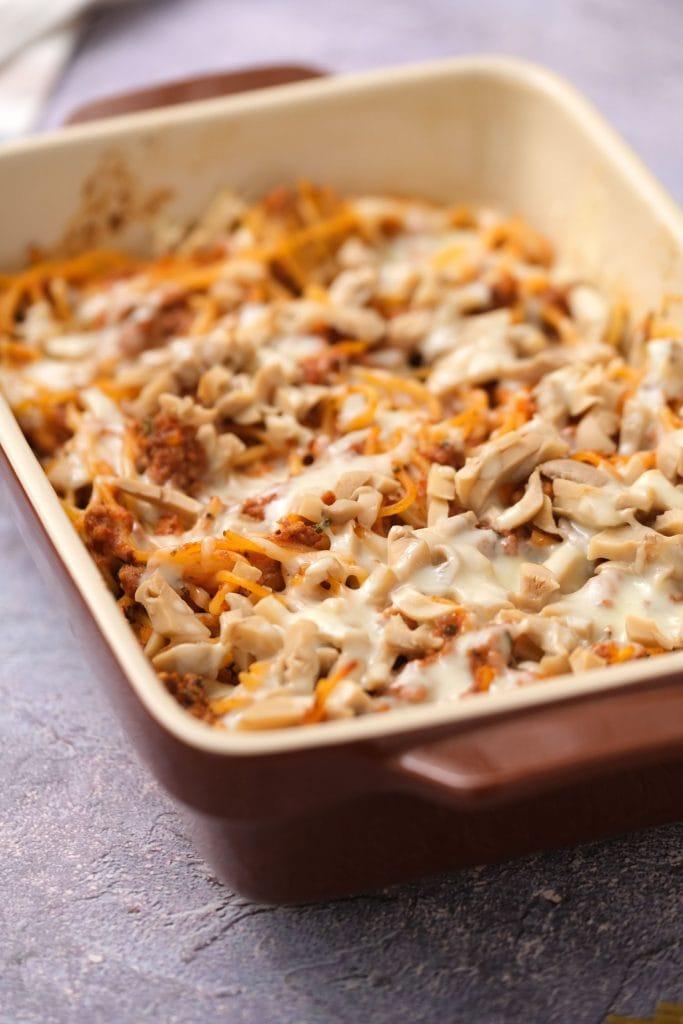 leftover spaghetti casserole baked in baking dish