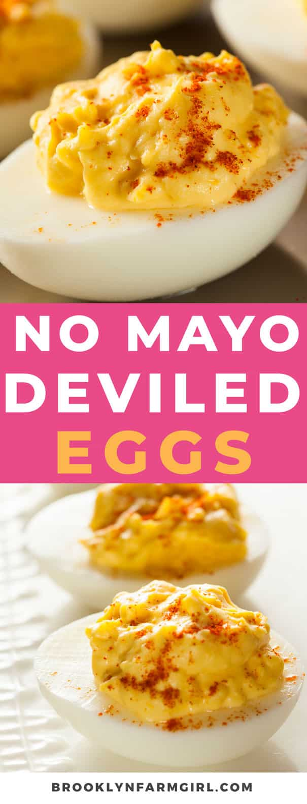 Easy No Mayo Deviled Eggs recipe. These creamy deviled eggs are made with ranch dressing and cream cheese as a mayo substitute. These are a favorite party appetizer!