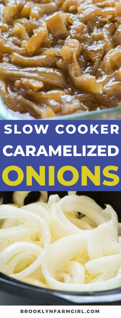 Easy Slow Cooker Caramelized Onions recipe that is ready in 5 hours.  This quick 4 ingredient recipe is the best and will make your mouth water! Step by step instructions on how to make these sweet onions in the crockpot.