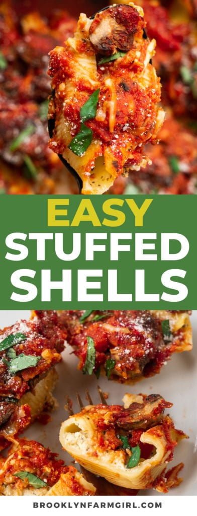 Easy Stuffed Shells recipe made with a ricotta cheese filling, Italian spices and pasta sauce. This classic dinner is one of my family's favorite meatless meals.  They're so cheesy, saucy and full of flavor!