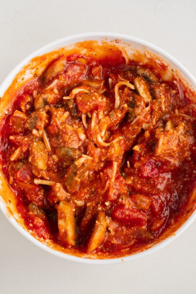 pasta sauce mixture with mushrooms in bowl