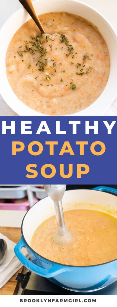 Easy to make healthy potato soup on the stovetop. You won't believe this creamy recipe doesn't need any milk or cheese!   Get ready to make the best potato soup ever! Vegetarian option available in recipe.
