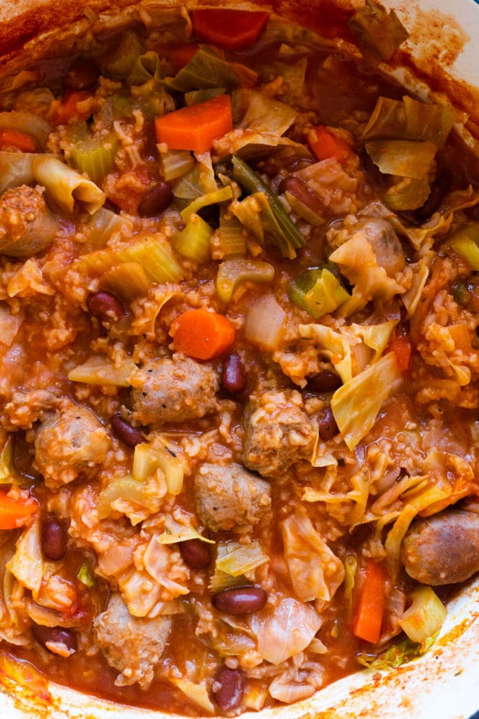 Delicious Polish Sausage and Cabbage Soup made on the stovetop.  This easy hearty sausage soup recipe will make any Polish Grandma proud!