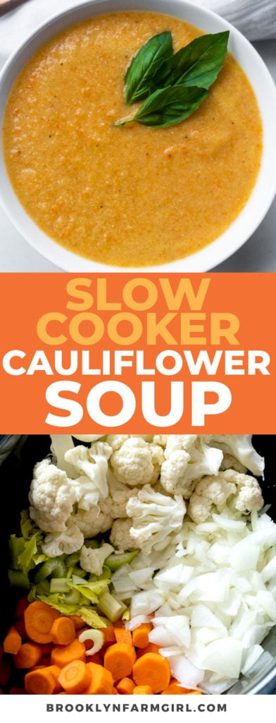Easy, throw everything in your Slow Cooker Cauliflower Soup recipe.  A creamy healthy soup is ready for your family in 4 hours! Low carb, keto diet friendly.
