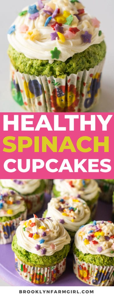 Easy healthy cupcakes recipe made with just a few simple ingredients - applesauce, fresh spinach, yellow cake mix and topped white frosting and sprinkles. Yes, you read that right! Spinach Cupcakes make for a sneaky way to include vegetables in your kids' diet. I promise you can't even taste the spinach and you won't believe how absolutely delicious these cupcakes are!