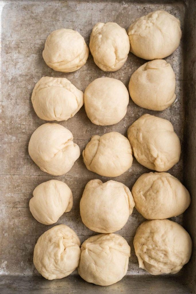 dough balls in pan