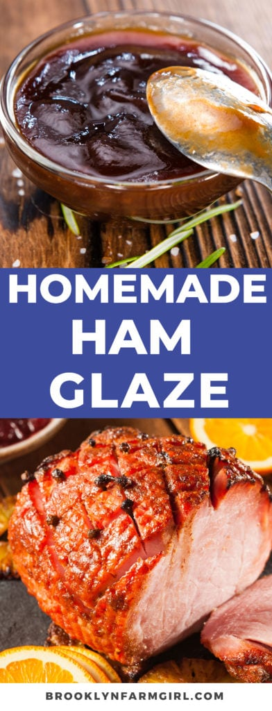 This ham glaze is delicious and simple to make.  All you need is brown sugar, orange juice and honey!  Mix in a bowl and brush over ham for a classic family recipe!