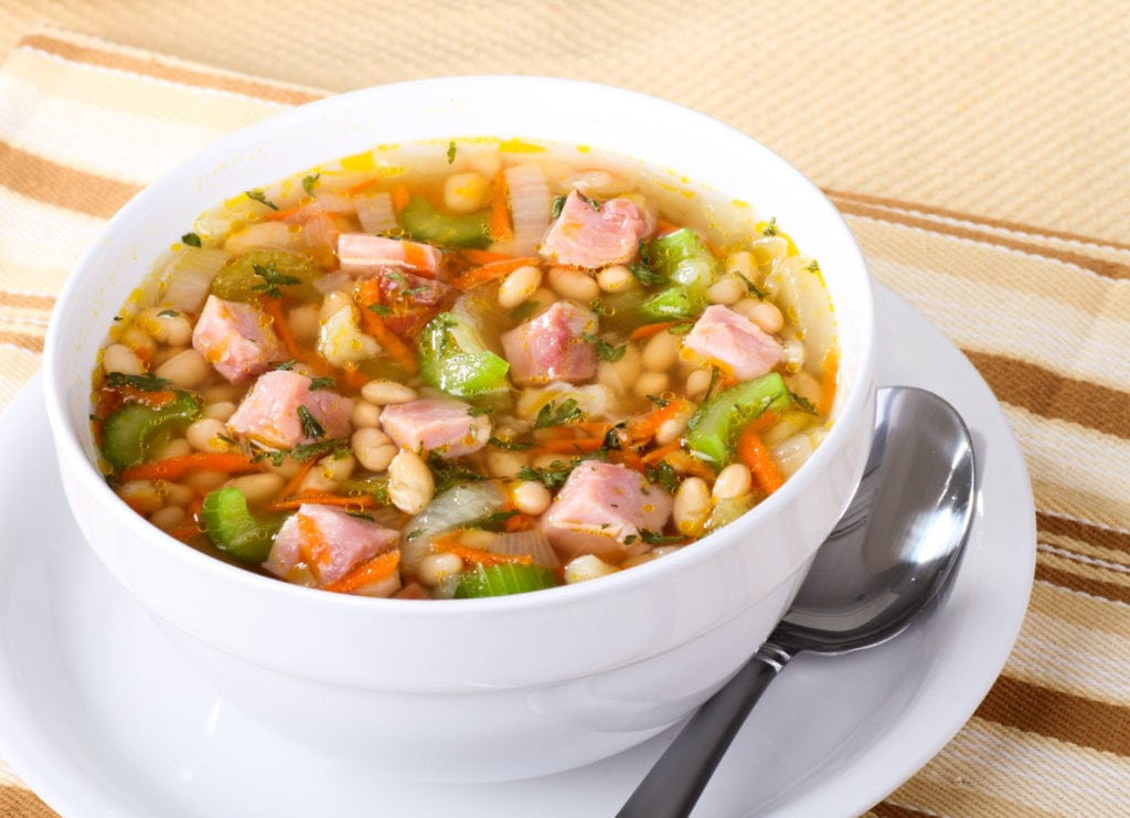 Old fashioned Instant Pot Ham and Bean Soup is a hearty recipe your entire family will love!  This easy to make broth based soup uses dry navy beans to make it a budget friendly meal!