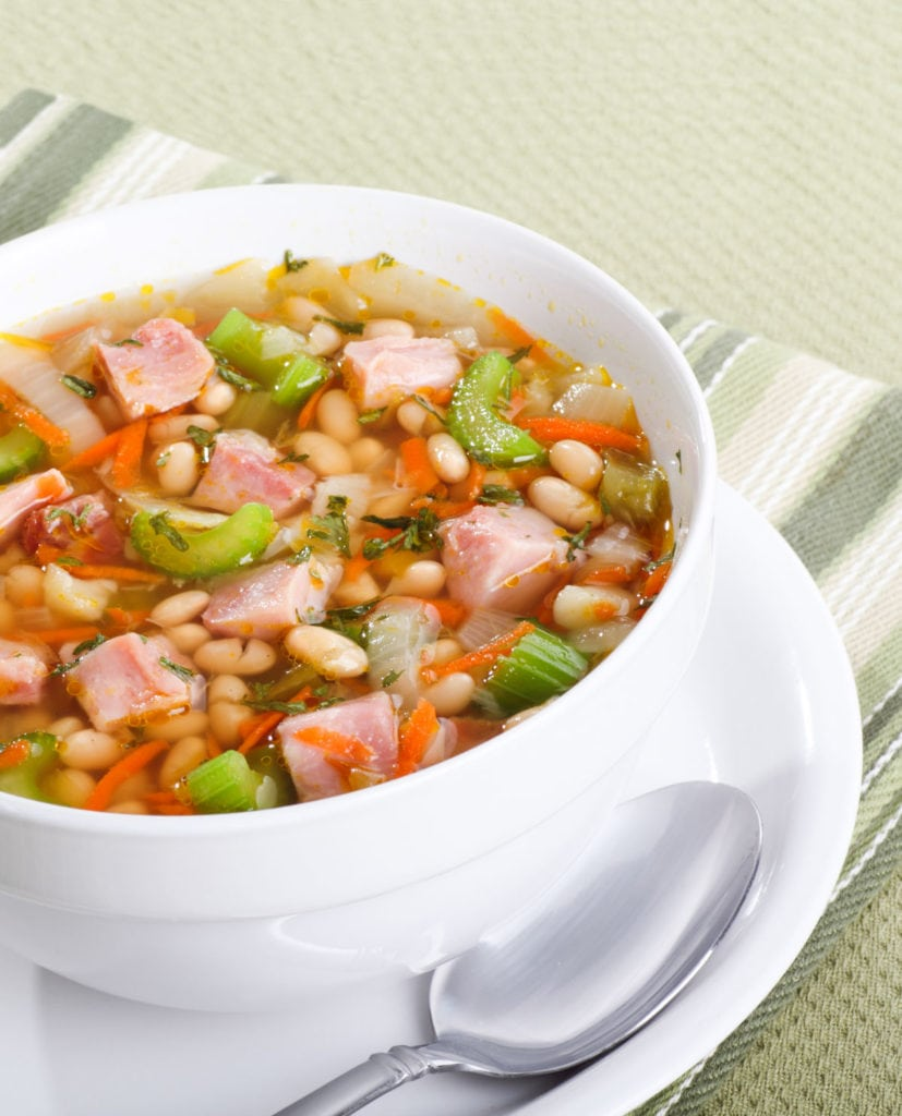 Old fashioned Instant Pot Ham and Bean Soup is a hearty recipe your entire family will love!  This easy to make broth based soup uses dry navy beans to make it a cheap meal.