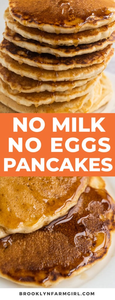 Easy fluffy pancakes that are made with no milk and no eggs.  This homemade recipe is made with simple pantry ingredients and water.