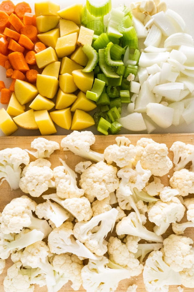 vegetables chopped on cutting board
