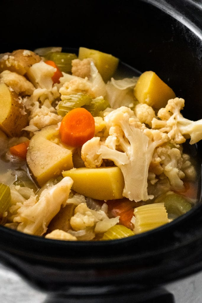 cooked vegetables in crockpot