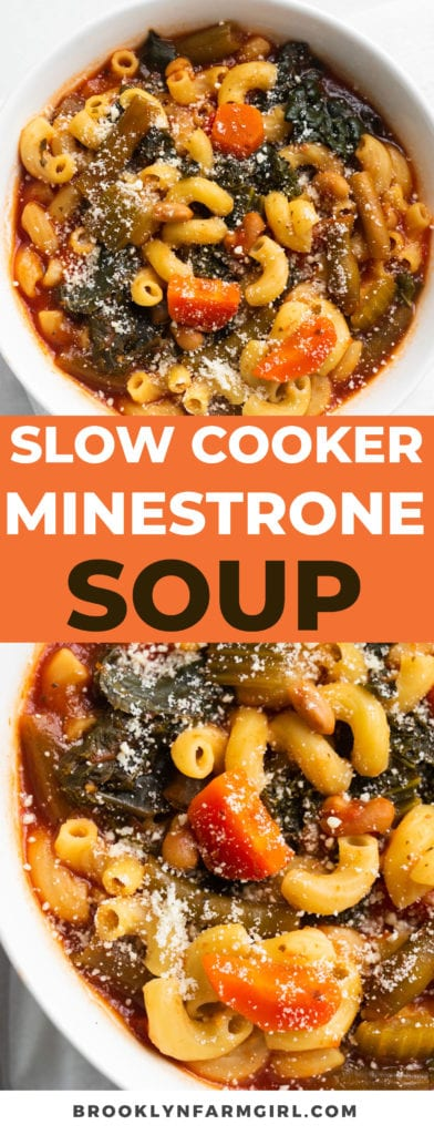 Easy to make healthy Minestrone Soup recipe made in the slow cooker.  This homemade vegetable soup is made in the crockpot in 6 hours.  At the end, add elbow noodles and you have a complete meal that your family will absolutely love!