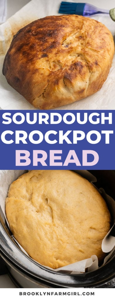 Easy Sourdough Crockpot Bread that only takes 3 hours to make.  No starter needed! Throw all the ingredients in the slow cooker and come back to a quick homemade crusty bread!
