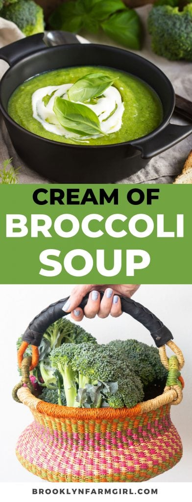 Pinterest Image for Simple Cream of Broccoli Soup that's thick, full of flavor and healthy!  This easy soup recipe is homemade but only takes 30 minutes to make! Come join me for a bowl!